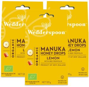 Wedderspoon ORGANIC Natural Manuka Honey Drops Lemon (20 Drops per box) TRIPLE PACK