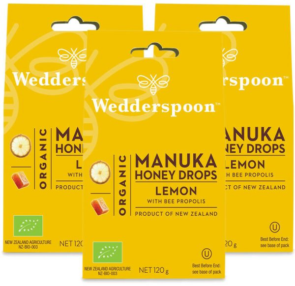 Wedderspoon ORGANIC Natural Manuka Honey Drops Lemon (20 Drops per box) TRIPLE PACK