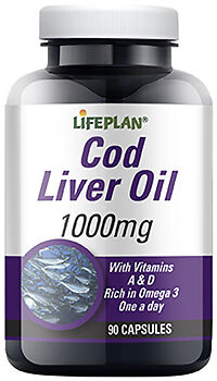 Lifeplan Cod Liver Oil High Strength 1000mg - 90 Capsules