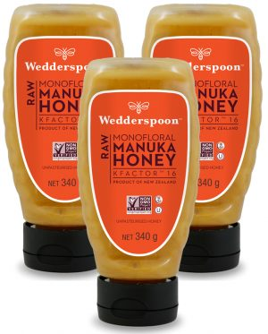 Wedderspoon RAW Manuka Honey SQUEEZY KF16 TRIPLE PACK