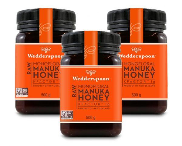 Wedderspoon RAW Manuka Honey KFactor 16 - 3 x 500g TRIPLE PACK