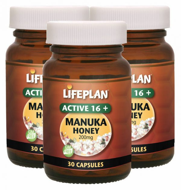 Lifeplan Manuka Honey Capsules 16+ 200mg - 3 x 30 Capsules TRIPLE PACK