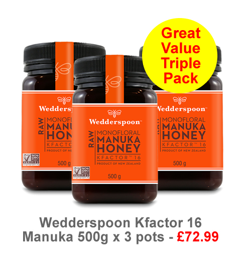 Our best value Manuka Triple pack - KFactor 16 500g Manuka Honey for only £72.99