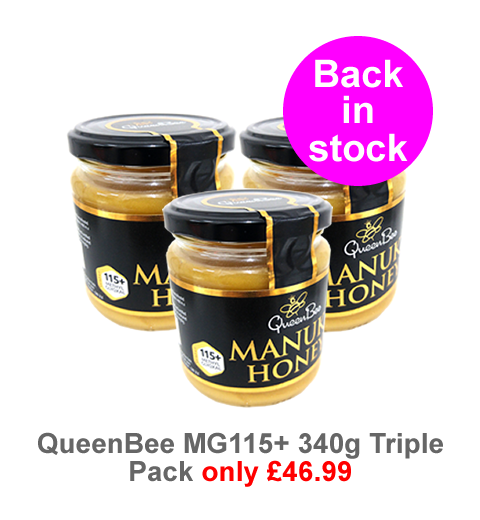 QueenBee MGO115 Manuka Honey 3 pots for only £46.99