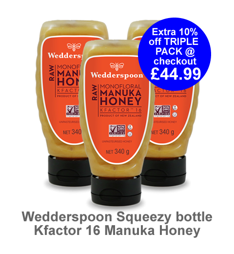 Our top selling squeezy jar Manuka Honey, KFactor 16 340g Triple pack now only £49.99