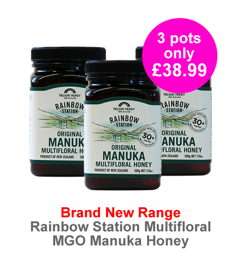 Brand New range Rainbow Station MGO Manuka Honey - special introductory offer 3 pots of MGO30+ 500g for only £38.99! Order now whilst stocks last