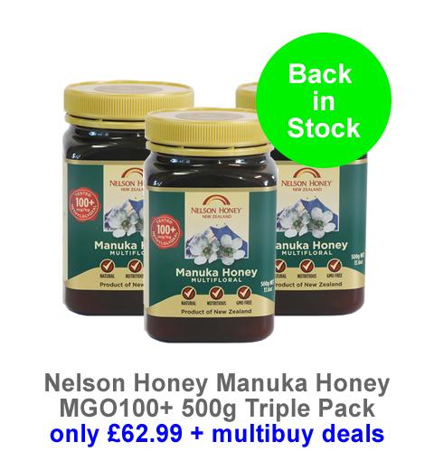 Back in stock Nelson Manuka Honey MG100 500g - triple pack now only £62.99
