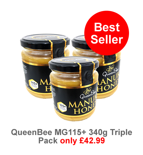 QueenBee MGO115 Manuka Honey 3 pots for only £42.99