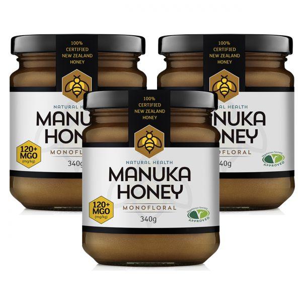 Natural Health Manuka Honey 120+ MGO (mg/kg) 3 x 340g TRIPLE PACK