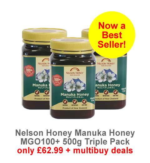 Now a Best Seller! Nelson Manuka Honey MG100 500g - triple pack now only £62.99
