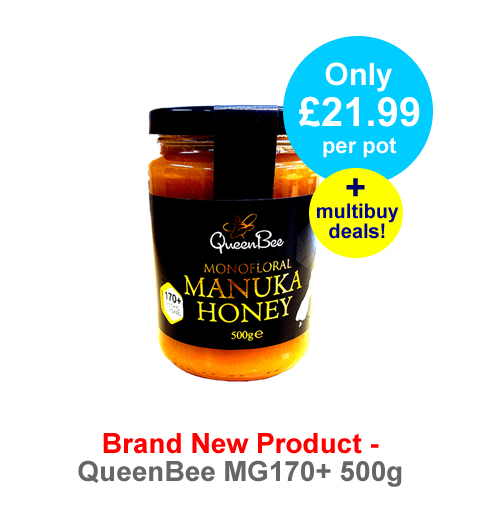 Delicious QueenBee Manuka Honey now to an MGO170 rating in a great value 500g jars!